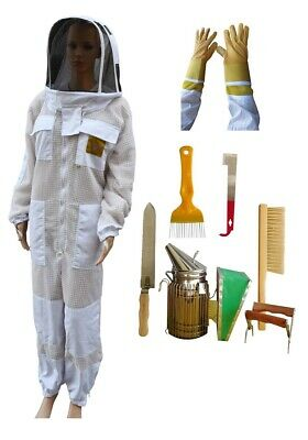 Starter Pack With Oz Apiarist Beekeeping Suit Ventilated 3 Layer Mesh &  Tools