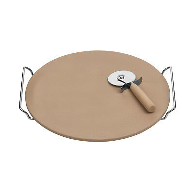 Round Pizza Serving Cutting Chopping Stoneware Board Chrome Handles Cutter Set