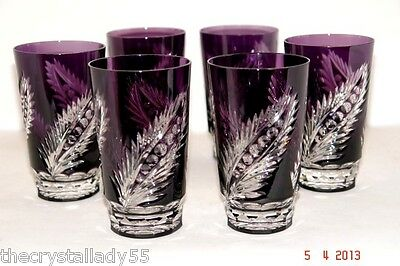 6 Faberge Plume Amethyst Purple Cased Cut To Clear Crystal Highballs Signed