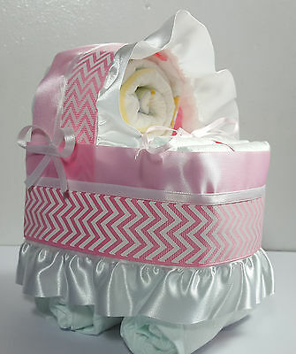 Diaper Cake - Bassinet Carriage Girl Baby Shower Gift - Pink/White Chevron