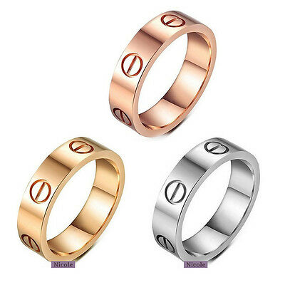 Polish Steel Stainless Screw Love Ring Comfort Fit Wedding Band Ring Size 6-10