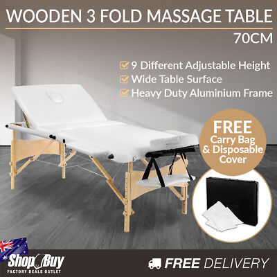 Portable Wooden Massage Table 3 Fold Beauty Chair Bed Waxing White 70 cm