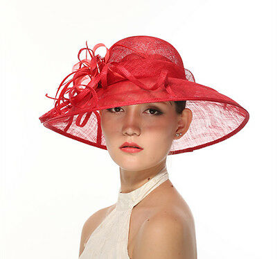 Church Kentucky Derby Carriage Wedding Tea Party Wide brim Sinamay Hat Red