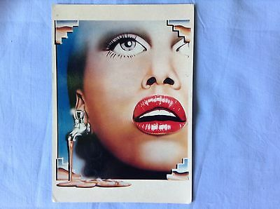 "Coloured surrealist art postcard ""Lips"" by A.Daniels 1979"