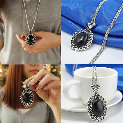 Women Vintage Silver Drop Pendant Long Sweater Chain Necklace Jewelry Gift