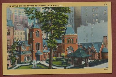 The Little Church  New York vintage 'Colourpicture' linen postcard   qp441