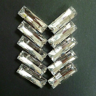 10 x Acrylic Sew-On Faceted Rhinestones. Baguettes/Rectangles -Crystal 24x8 mm.