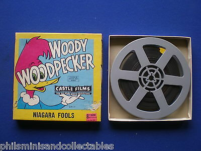 Castle Super 8mm - '' Woody Woodpecker in Niagara Fools ''  200ft  B/W   Sound