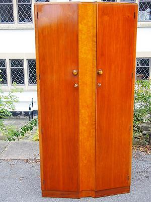 Lovely Retro Vintage 1950s Walnut Gold Key 'Palatial' Gentlemans Fitted Wardrobe
