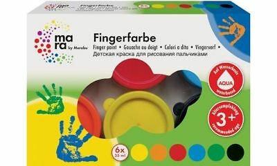 mara by Marabu Fingerfarbe, 35 ml, 6er-Set Kinderfarbe Malfarbe Kindergeburtstag