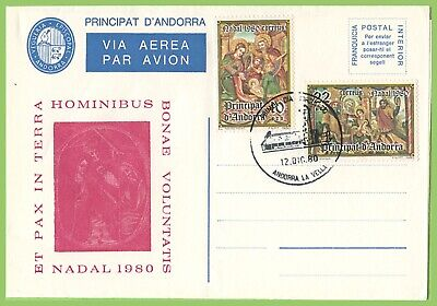 Andorra 1980 Christmas set on illustrated First Day Cover