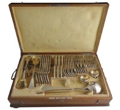 Austrian 800 Silver Frosted Flatware Set Service 81 Pieces Original Fitted Box