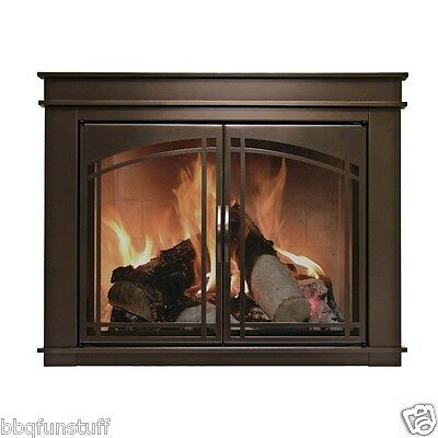 Pleasant Hearth Glass Fireplace Door Fenwick Bronze Iron with Hard Mesh Large