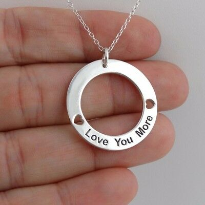 Love You More Necklace - 925 Sterling Silver - Infinite Circle Love Gift Heart