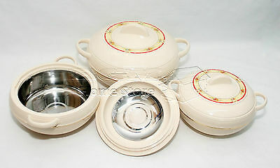 Royal 3Pc Hot Cold Round Insulated Casserole Hot Pot Set Food Warmer Picnic P-S