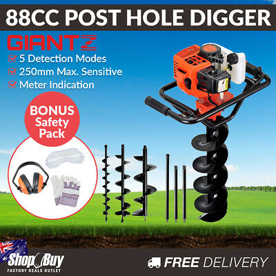 88cc Petrol Post Hole Digger Earth Auger Fence Borer Bit Drill Kit Set