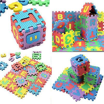 36PCS Alphabet & Numerals Baby Kids Soft Foam Play Mats Educational Puzzle Toy