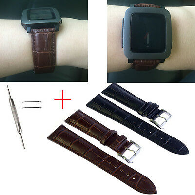 Genuine Leather Strap Buckle Wrist Band For Pebble Time 501 Smart Watch