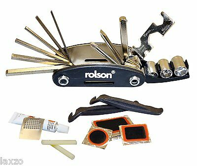 Rolson 40606 30-in-1 Bicycle and Puncture Repair tool Kit -Multi Tool Tyre Lever