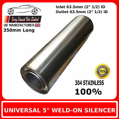 """5"""" x 14"""" Weld On Stainless Steel Silencer Exhaust Box Body, 2"""" 1/2 (63.5mm) Bore"""
