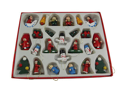 Set of 24 Gisela Graham Wooden Christmas Tree Decorations - Traditional Decs