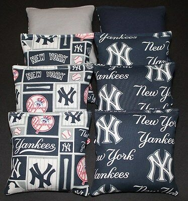 CORNHOLE BEAN BAGS made w New York Yankees NY Fabric ACA Regulation Toss Game
