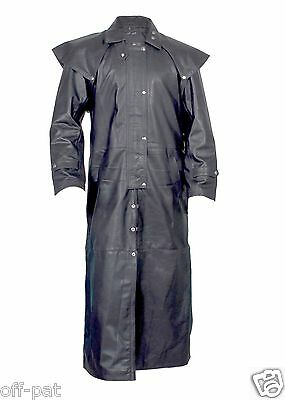Mens Black Real Leather DUSTER STEAMPUNK Riding Trench Coat  Most Sizes