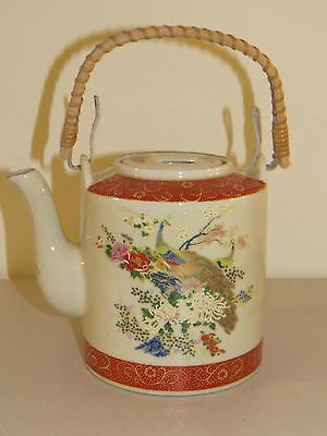 VINTAGE SATSUMA JAPAN HAND PAINTED PEACOCK & FLORAL TEAPOT w/ BAMBOO HANDLE