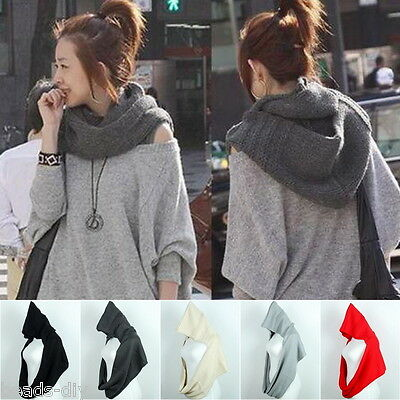Women New Fashion Winter Hat Cloak Hooded Neckerchief Scarf Knitted Cap Scarves