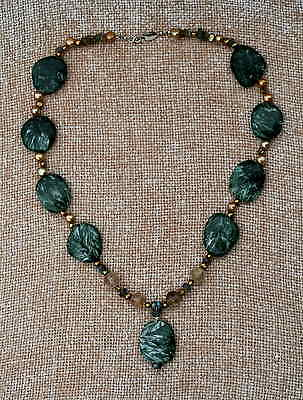 Seraphanite, Rutilated Quartz & Labradorite Necklace (Seraphinite)