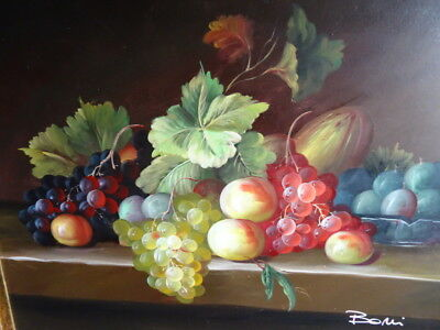 Fine Art Italian Still Life Fruit Canvas Oil Painting Gilt Framed Signed Boni