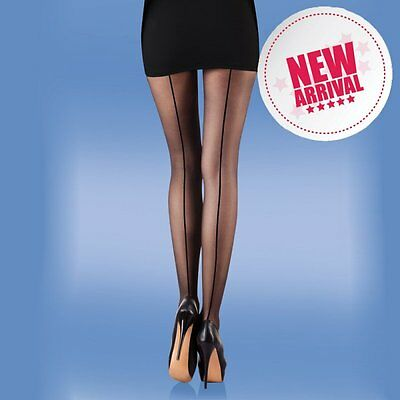Seamer Tights Black and Natural 15 denier Tights with seam
