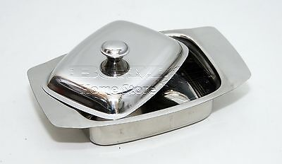 Retro Serving Butter Dish Stainless Steel Tray Holder  With Lid Storage Kitchen
