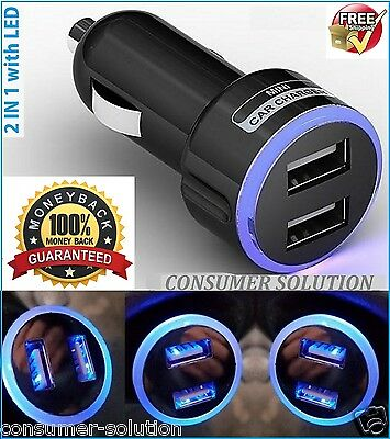 2 In 1 Led Universal Usb Dual Car Charger Cigarette Socket Lighter For Iphone 6S