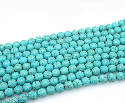 Lots 20-200Pcs Natural Turquoise Round Gemstone Spacer Loose Beads 4/6/8/10mm