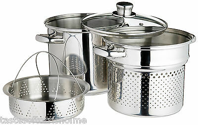 Genuine Kitchencraft Pasta Cooking / Stock Pot Pan, Steamer, Insert & Glass Lid