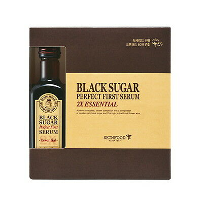 [SkinFood] Black Sugar Perfect First Serum 2X #Essential 120ml with cotton pads