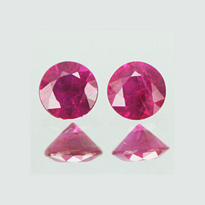 2mm Lot 2,10,20,50pcs Round Cut Accent Stone Natural Reddish Pink RUBY