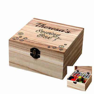 Personalised Sewing Craft Box Wooden Storage Kit Embroidery Engraved Organiser