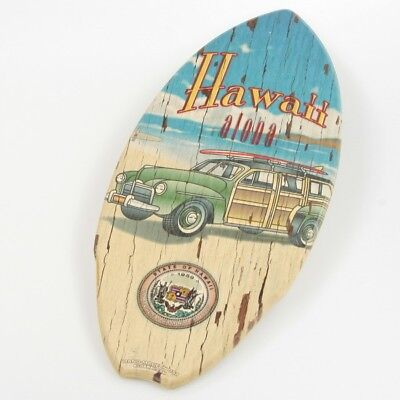 Hawaiian State Woody Wagon KC Hawaii Wood Mini Surfboard Surfing Decor 8.5 x 20
