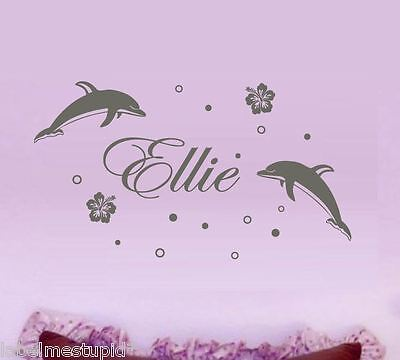 Dolphins with Custom Name Wall Stickers Personalised Kids Girls Ocean Fish