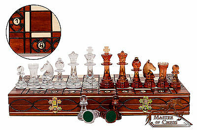 AMBER Decorative Chess Set 41cm Stunning Chessboard and Unique STAUNTON Pieces!