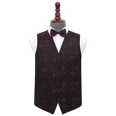 DQT Woven Diamond Patterned Cadbury Purple Mens Wedding Waistcoat & Bow Tie Set