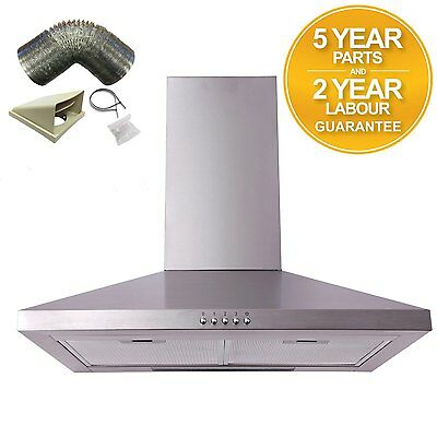 SIA CHL61SS 60cm Stainless Steel Chimney Cooker Hood Extractor Fan + 1m Ducting