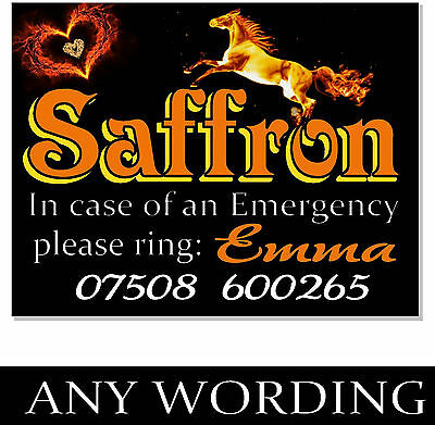 ANY TEXT NAMES Emergency notice Horse Pony Sign Plaque stable door paddock gate