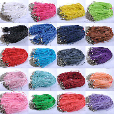 10pcs Organza String Ribbon Waxed Cord Necklace Lobster Clasp Chain Finding DIY