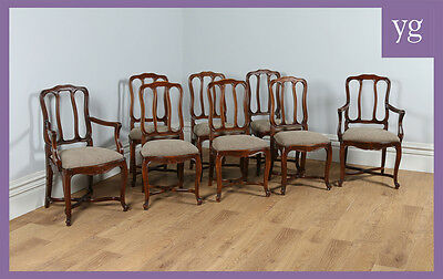 Antique Set 8 Eight French Louis Beech Upholstered Kitchen Dining Chairs c.1900