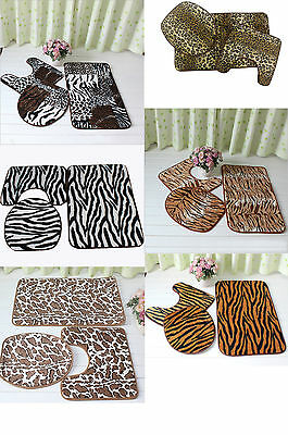 Animal Pattern Toilet Cover Set 3 Pc Bathroom Mat Rug Lid Toilet Cover