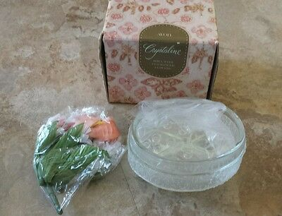 NEW AVON 1982 Crystaline Bowl With Fragranced Flower
