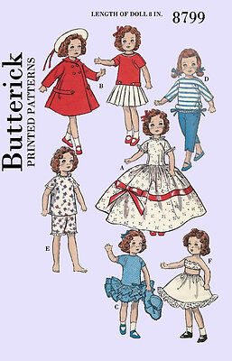 Butterick 8799 - for 8 inch movie star dolls, shirley temple, etc sewing pattern